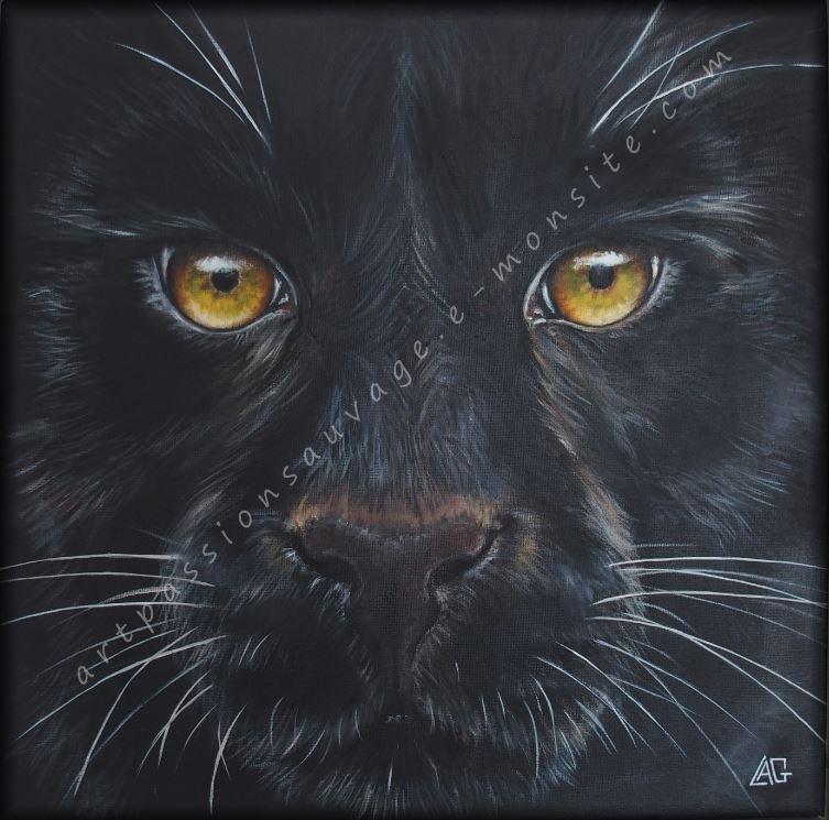 Panthère noire à l'huile