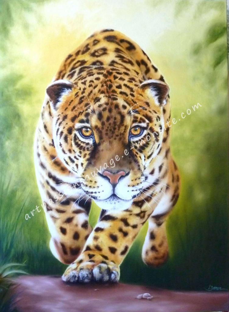 Jaguar à l'huile 100x73 cm