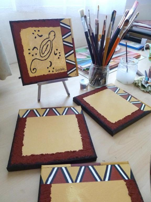 Mes carré d'Art - 100 % moi ! (sable, feuille d'or, pâte à relief...)