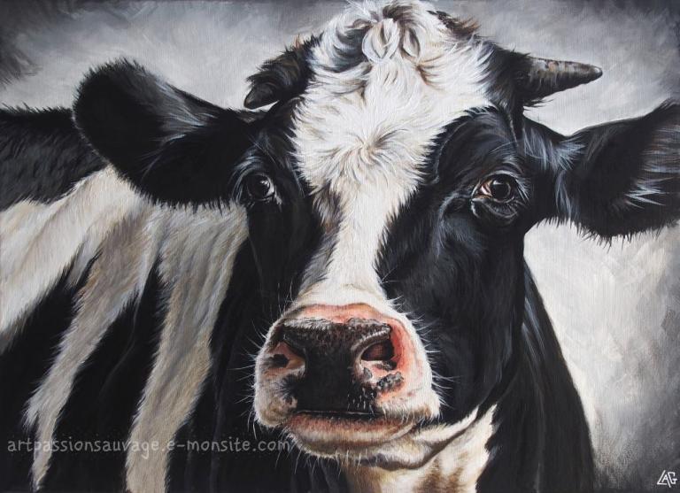 Vache acrylique sur toile 60x80 cm