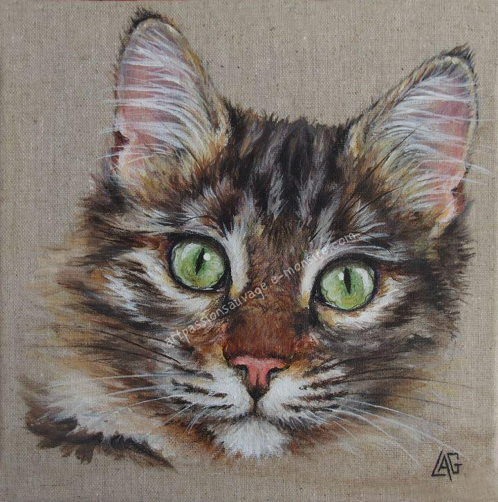 Chat acrylique lin