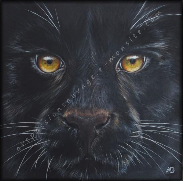 Panthère noire peinture à l'huile