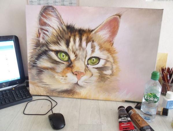 Chat acrylique et huile