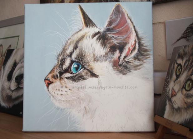 Chat peinture acrylique