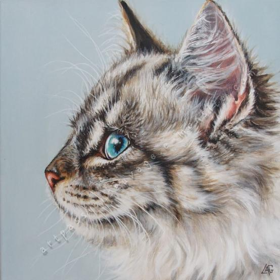 Chat à l'acrylique