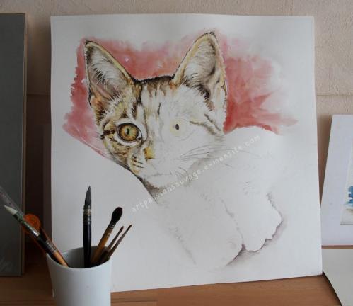 Chaton aquarelle - en cours de réalisation