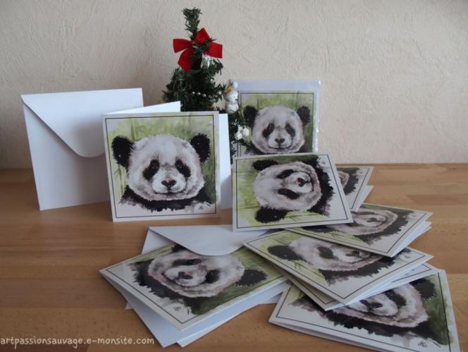 Carte panda aquarelle