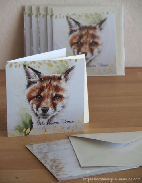 Carte renard aquarelle