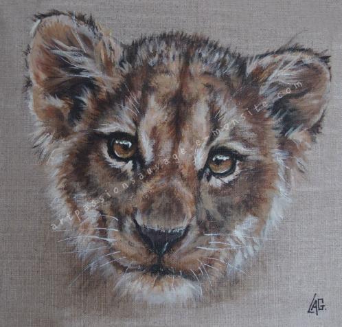 Lionceau peinture acrylique
